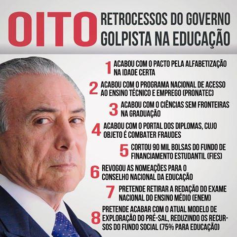 Resultado de imagem para O GOVERNO TEMER e a educação no Brasil